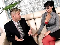 Horny secretary fucked on a couch everywhere lingerie