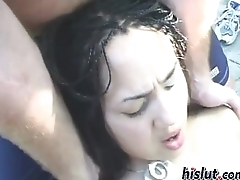 Two irregular girls block up on the top of a jumbo cock