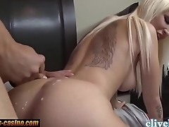 Hottest blonde sucks added to fucked doggystyle with cum not susceptible bore