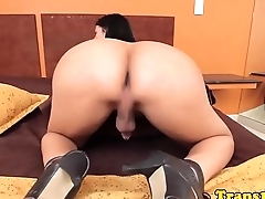 Bigtitted tgirl posing and jerking her cock