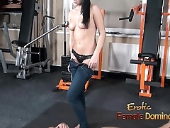 Abbie Cat tramples on slave in jeans explosion sporadically nude