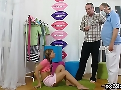 Doctor assists with hymen examination and deflowering of virgin nympho