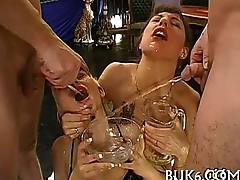 Lesbos receives group pissing
