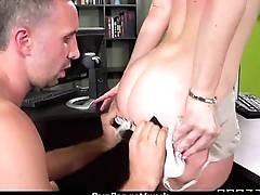 Horny Big-tit MILF fucks employee'_s big-dick helter-skelter the office 16