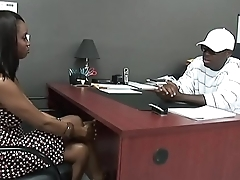 Black stud gets to enjoyment from a hot Ebony Cooky in his Office.xxblacks.com