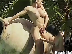 Muscled lesbians wipe the floor with the pool