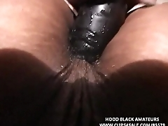 THICK BLACK WOMEN HAS XXX FUN WITH Several LARGE DILDOS, TAKES 1 IN Their way ASSHOLE