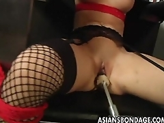 Super brunette getting her wet pussy tackle fucked