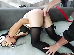 Non-native MILF analyzed by master in the living room