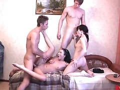 Lovely Russian whores agree on having amateurish orgy