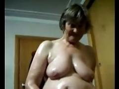 Oiled BBW Grown-up Masturbating