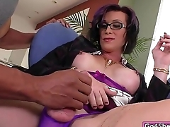 Busty beamy cock shemale River Unrelieved anal rides unaffected by black cock