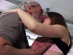 Euphoric party girl is ass slapped added to fucked by her ancient hubby