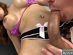 Huge tits shemale Barbara D gets her tight asshole pounded