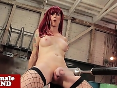 Trans famousness Nadia Vixen drilled by machine