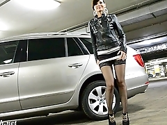 Jeny Smith toying herself at public car parking